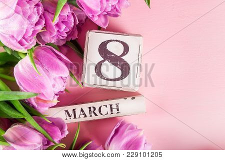 Wooden Blocks With International Womens Day Date, 8 March