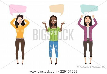 Three Modern Multiracial Women Communicate. Dialog Bubble For Communication. Female With Emotions Of