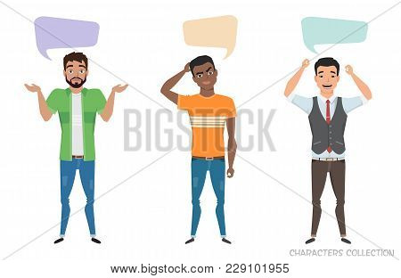 Three Modern Multiracial Men Communicate. Dialog Bubble For Communication. Guys With Emotions Of Joy