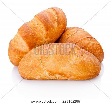 Three Loaf Of Bread Isolated On White Background