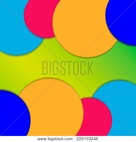 Vector Illustration Of A Background Image Consisting Of Circles Of Blue, Orange, Red On A Green Grad
