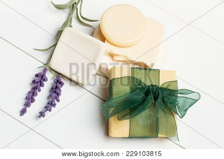 Body Care Soaps For Aromatherapy On A White Woooden Table