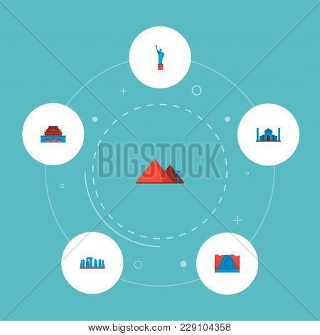 Set Of Famous Icons Flat Style Symbols With Taj Mahal, Statue Of Liberty, Stonehenge And Other Icons
