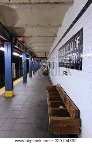 New York, Usa - July 6, 2013: People Wait At Museum Of Natural History Subway Station In New York. W