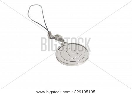 Key Ring Silver Bitcoin Crypto Currency Isolated On White