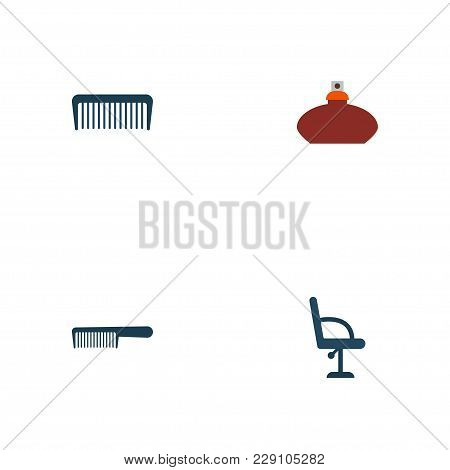 Set Of Barbershop Icons Flat Style Symbols With Flacon, Comb, Barbershop Furniture And Other Icons F