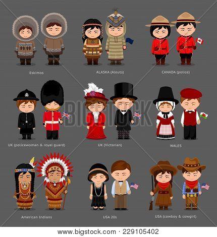 People In National Dress. United Kingdom, Canada, United States Of America (usa). Eskimos, Aleuts, A