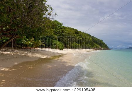 Beautiful Tropical Beach With No People. Lost Paradise Beach On Island In Andaman Sea