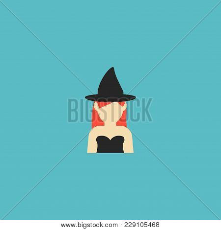 Witch Icon Flat Element.  Illustration Of Witch Icon Flat Isolated On Clean Background For Your Web