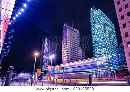 Potsdamer Platz At Night In Berlin, Germany