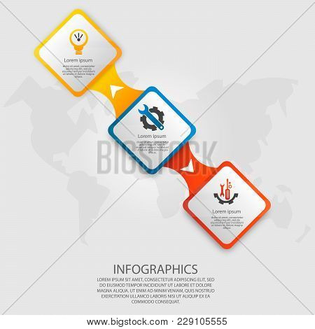 Modern Vector Illustration 3D. Template Infographics With Three Elements Rectangles. Designed For Bu