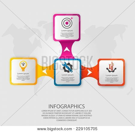 Modern Vector Illustration 3D. Template Infographics With Four Elements Rectangles. Designed For Bus
