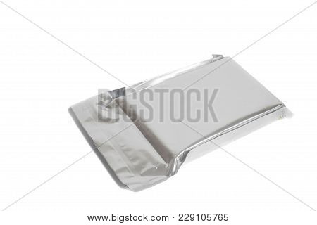 Silver Blank Package Isolated On White Background.