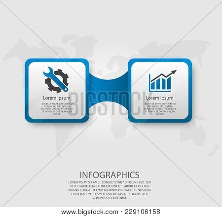 Modern Vector Illustration 3D. Template Infographics With Two Elements Rectangles. Designed For Busi