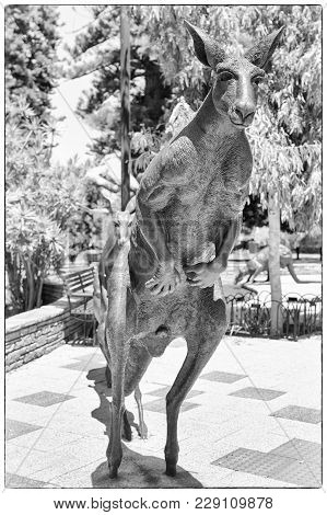 Perth, Australia - January 21, 2018: Statue Of Kangaroo Most Popular Animal Of Australia In Downtown