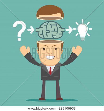 Businessman Select Solutions. Business Concept. Internet Concept. Stock Flat Vector Illustration.