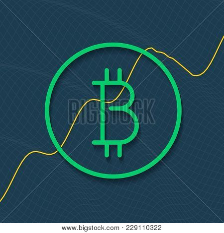 Cryptocurrency Logo With Market Growth Chart And Shadow. Business Data Report Financial Chart. Marke