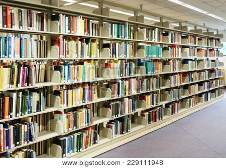 Books On Shelves In A Library, Titles Are Blurred
