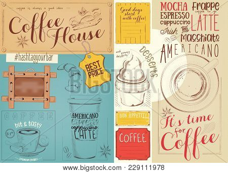 Coffee Menu Placemat Design. Colorful Template For Coffee Shop, Coffee House And Cafe. Retro Style N