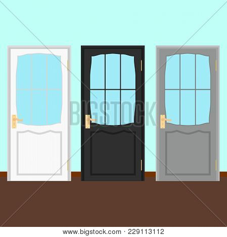 Vector Wood Closed Door With Frame Isolated On Blue Background