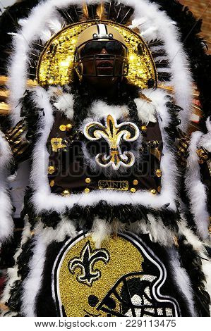 New Orleans,la/usa -03-18-2012: An African American Woman In Mardi Gras Indian New Orleans Saints Co