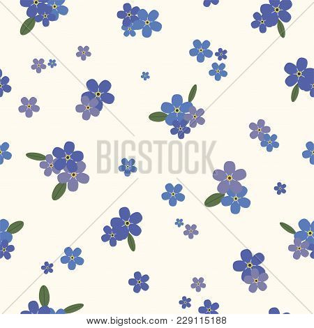 Floral Seamless Pattern With Blue Forget-me-nots. Vector.