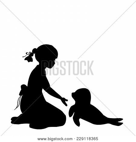 Silhouette Girl Sitting Knees Beckon Seal Pups .protection Seal Pups. Vector Illustration