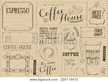 Coffee Menu Placemat Design. Template For Coffee Shop, Restaurant And Cafe. Vintage Style On Craft P