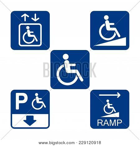 Disabled Access Blue Icon Set, Disability Accessible Signs
