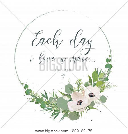 Vector, Floral Card Design With Elegant Bouquet Wreath With Pink Anemone Flowers, Cute White Lilac B