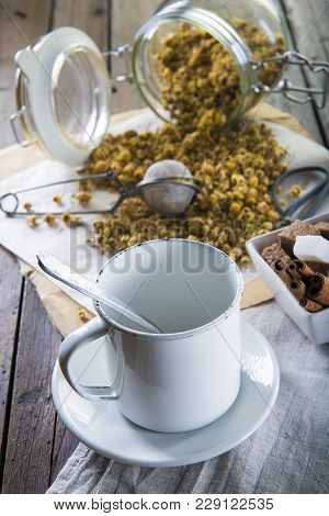 Dried Chamomile Flowers For Brewing A Camolile Tea
