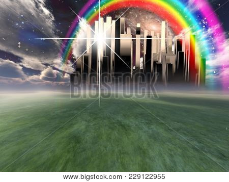 Heavenly City hovers in the sky. Rainbow. 3D rendering