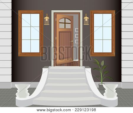 Illustration Of The Entrance Door Of A Country House In The Interior. Home Illustration