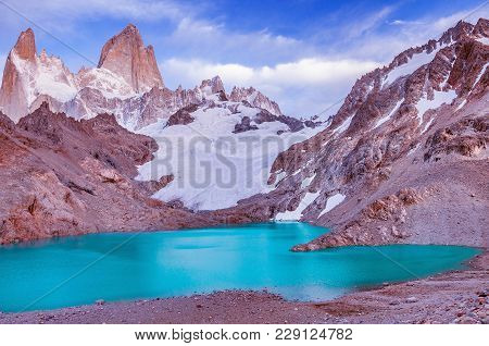 Amazing Sunrise View Of Fitz Roy Mountain An Los Tres Lake. Los Glaciares National Park. Argentina.