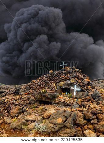 Chapelle of Virgin Mary on The Piton de la Fournaise (Peak of the Furnace) 2632m is a shield volcano on the eastern side of Reunion island.