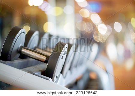 Rows Of Dumbbells In The Gym. Rows Of Dumbbells