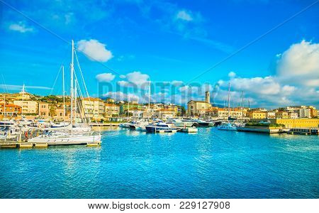 San Vincenzo Port Or Marina, Church And Seafront Panoramic View. Tuscany, Italy Europa
