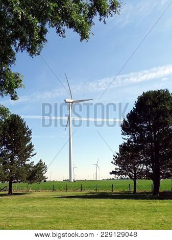 Wind Turbines Located In Agricultural Fields In Indiana