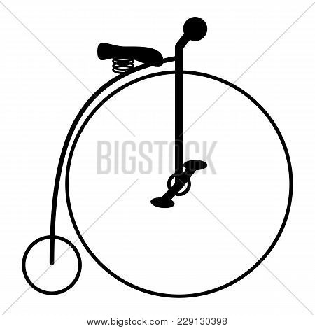 Penny-farthing. Silhouette Of Old Bicycle. Icon Vector
