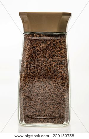 Glass Of Instant Coffee On White Background