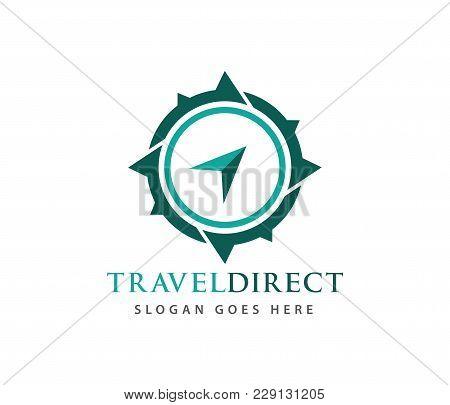 Compass Wind Rose Travel Adventure Direction Navigation Vector Logo Design