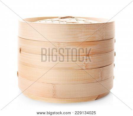 Wooden kitchen utensil on white background