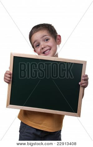 Boy Holding A Blackboard