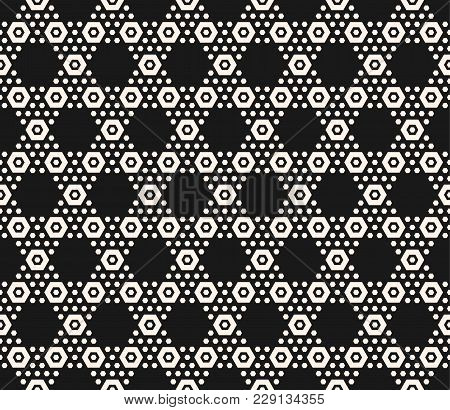 Vector Geometric Hexagon Seamless Pattern. Abstract Black And White Honeycomb Texture With Small Hex