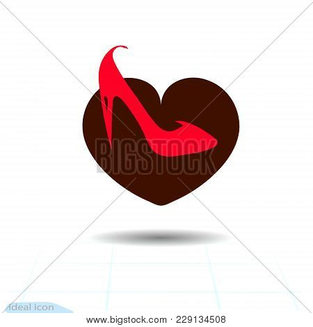 Heart Vector Black Icon, Love Symbol. The Red Female Elegant Shoe In Heart. Valentines Day Sign, Emb