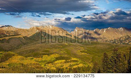 Rocky Mountains Gore Range Panorama Near The Ski Town Of Vail Colorado