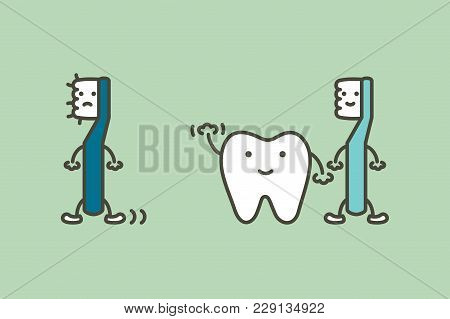 Tooth Say Goodbye Old Toothbrush Change To New For Healthy Teeth, Dental Care Concept - Dental Carto