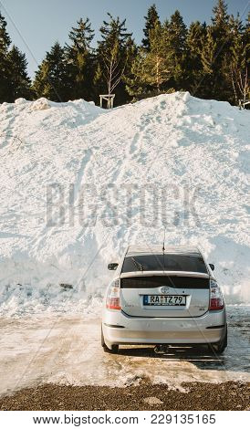 Seebach Mummelsee, Feb 25, 2018: Toyota Prius Hybrid Car Parked On A German Parking Near The Black F