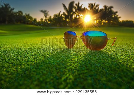Beautiful Glasses On Golf Course. Punta Cana