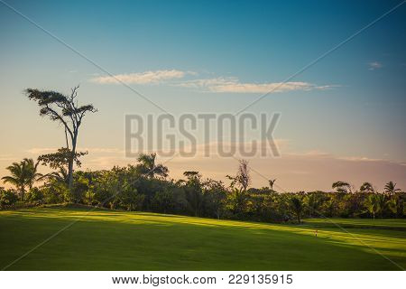 Golf Course In The Tropical Island Punta Cana, Dominican Republic